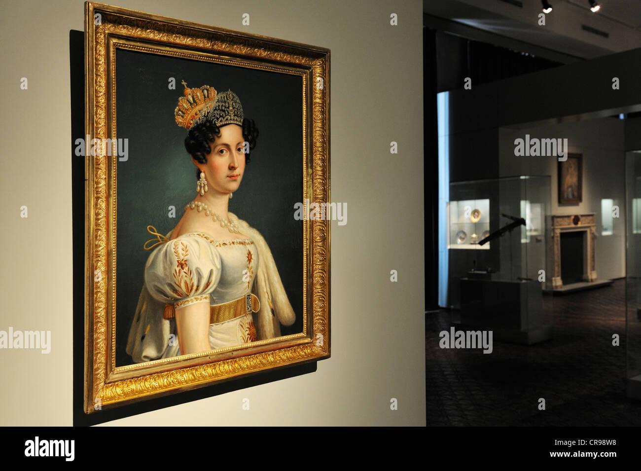 Pittura, olio su tela, Regina Teresa, moglie di re Ludwig I, 1833, Museo Nazionale Bavarese, Monaco di Baviera, Immagini Stock