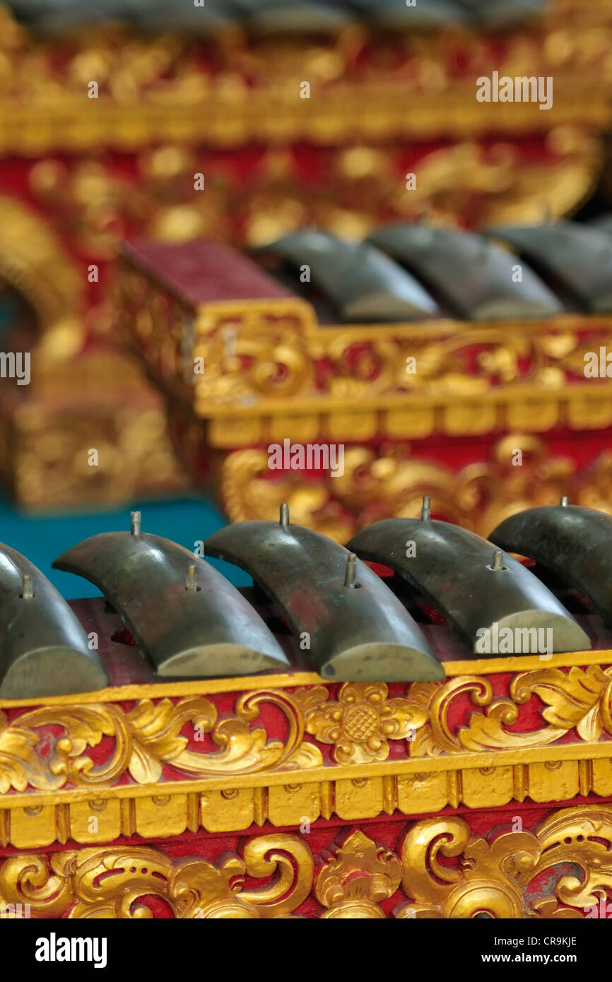 Strumenti musicali in Ponjok Tempio Batu, Bali, Indonesia Immagini Stock