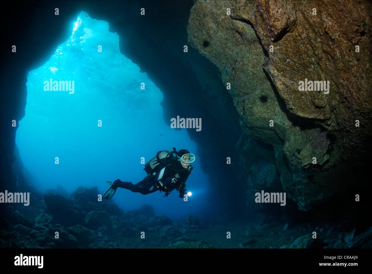 Subacqueo con torcia subacquea in una grotta di roccia, retroilluminato, sun, Madeira, Portogallo, Europa, Oceano Foto Stock