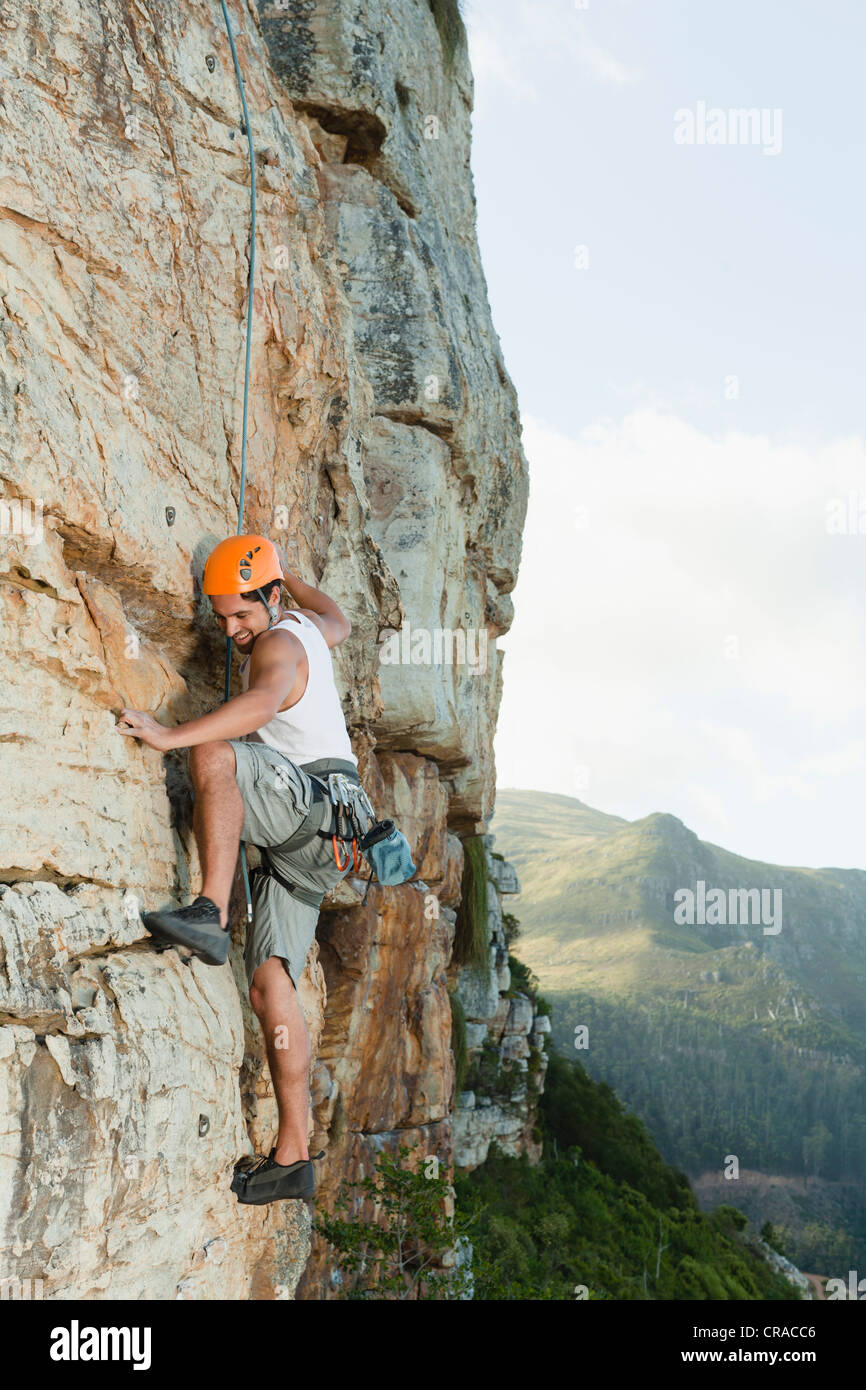 Scalatore scala ripida roccia Foto Stock
