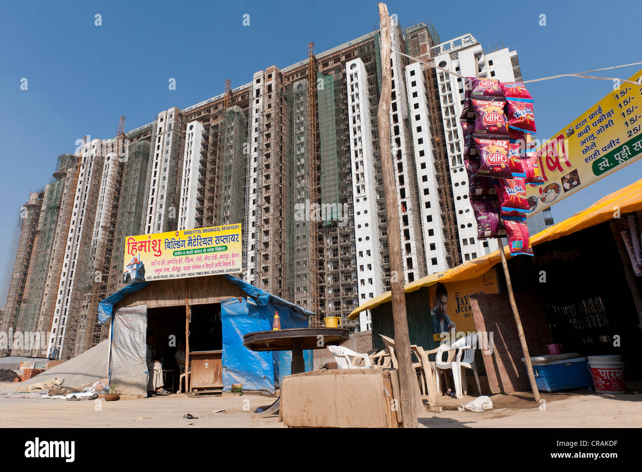 Nuovi edifici residenziali, Gurgaon, Haryana, Nord India, India, Asia Immagini Stock