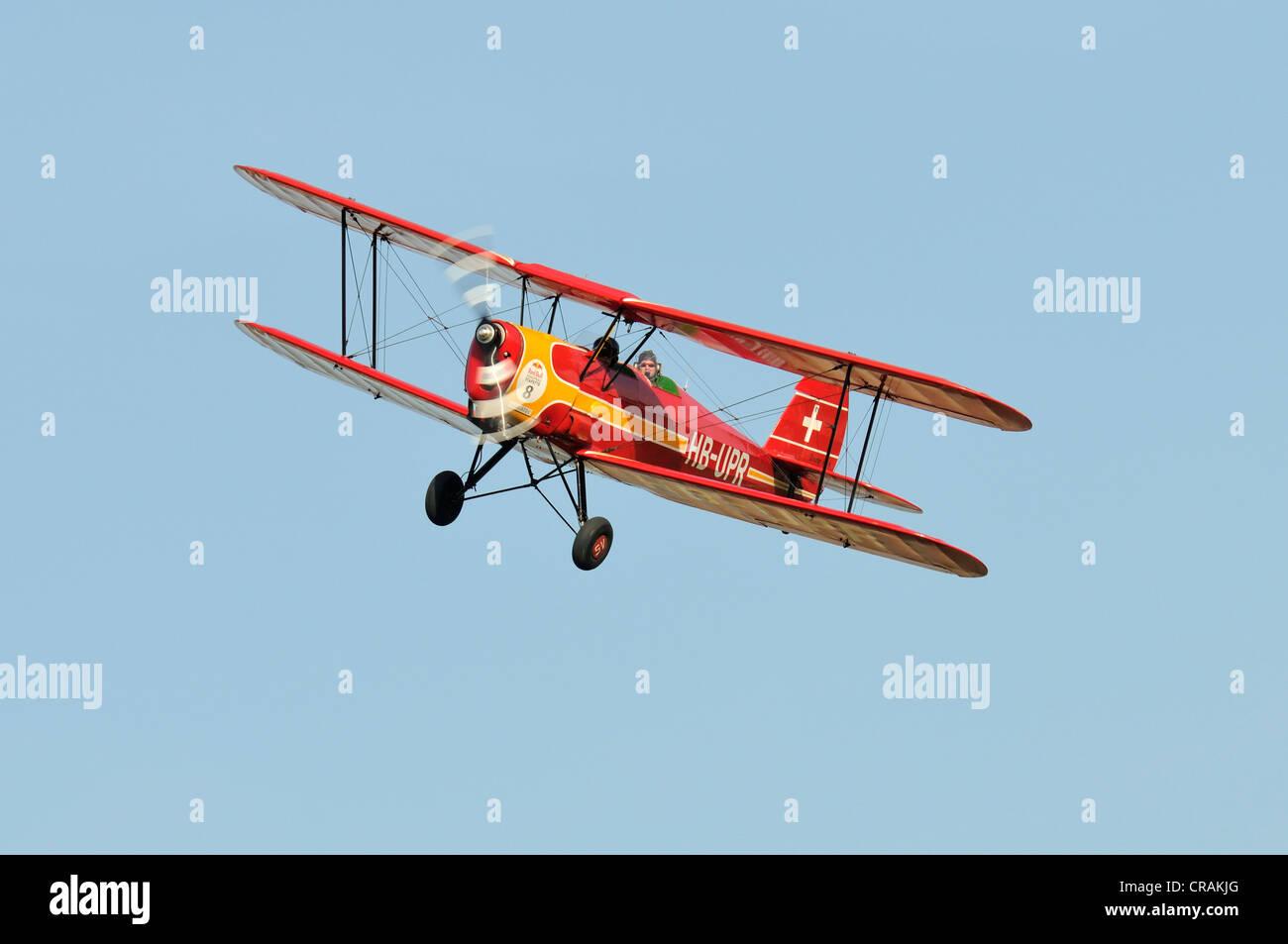 Stampe belga SV4un biplano, primo volo nel 1938, in Europa la più grande riunione di aeromobili d'epoca Immagini Stock