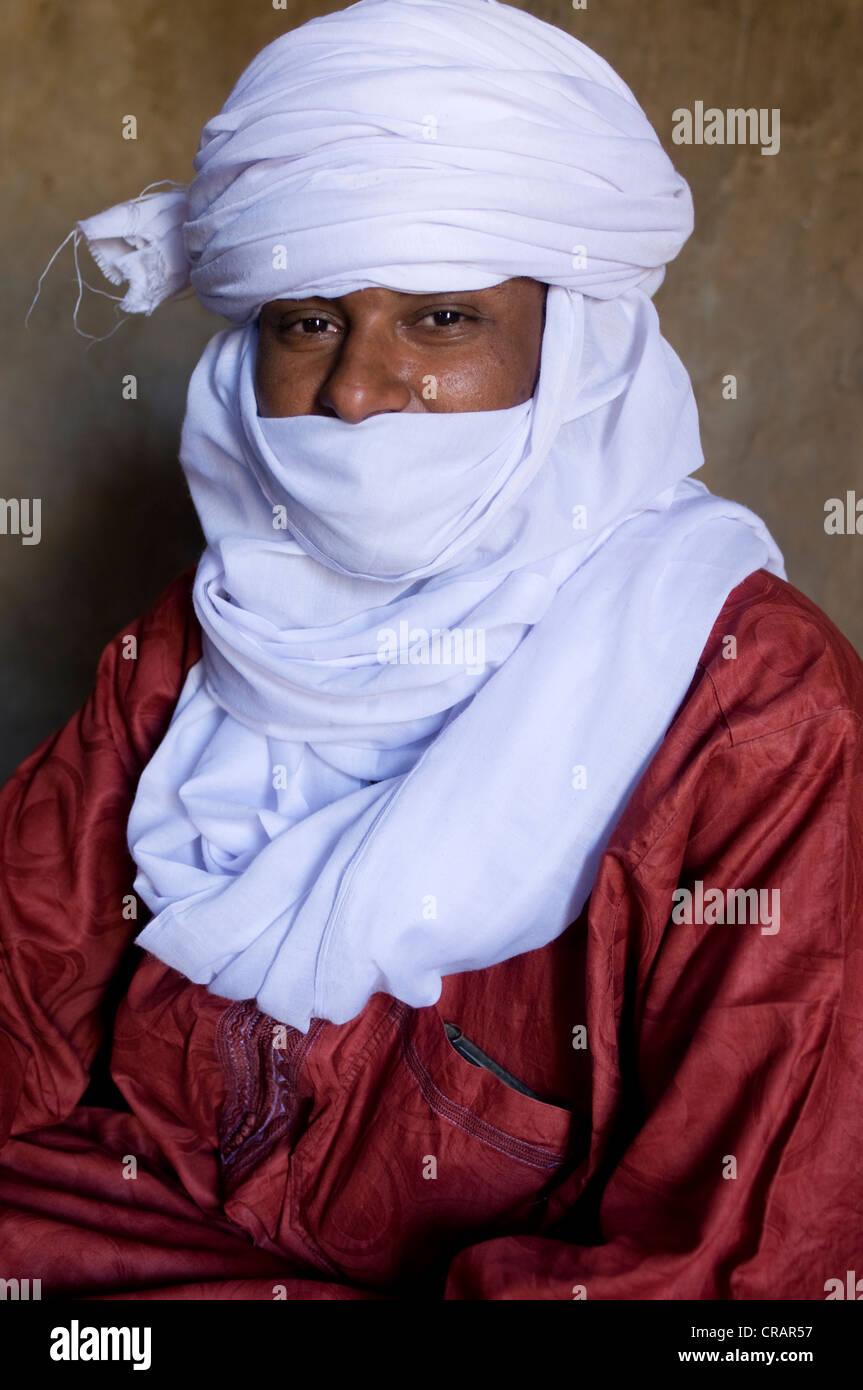 Indigeni uomo Tuareg, ritratto, Algeria, Africa Immagini Stock
