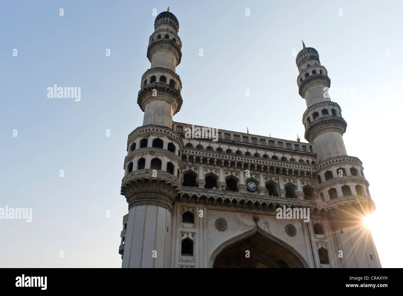 Monumento Charminar con quattro minareti, Hyderabad, Andhra Pradesh, India, Asia Immagini Stock
