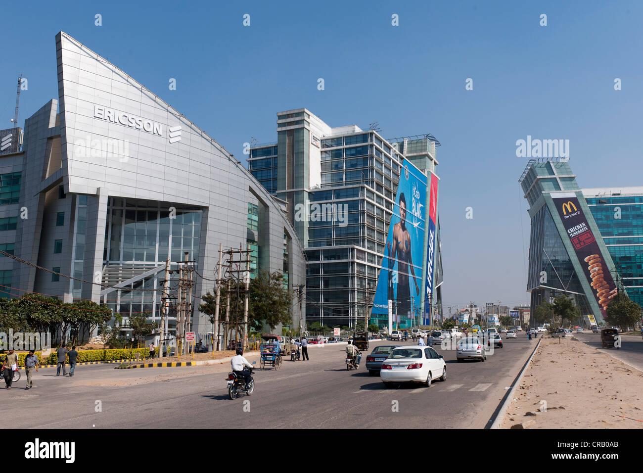 Nuovi edifici di uffici, Gurgaon, Haryana, India, Asia Immagini Stock