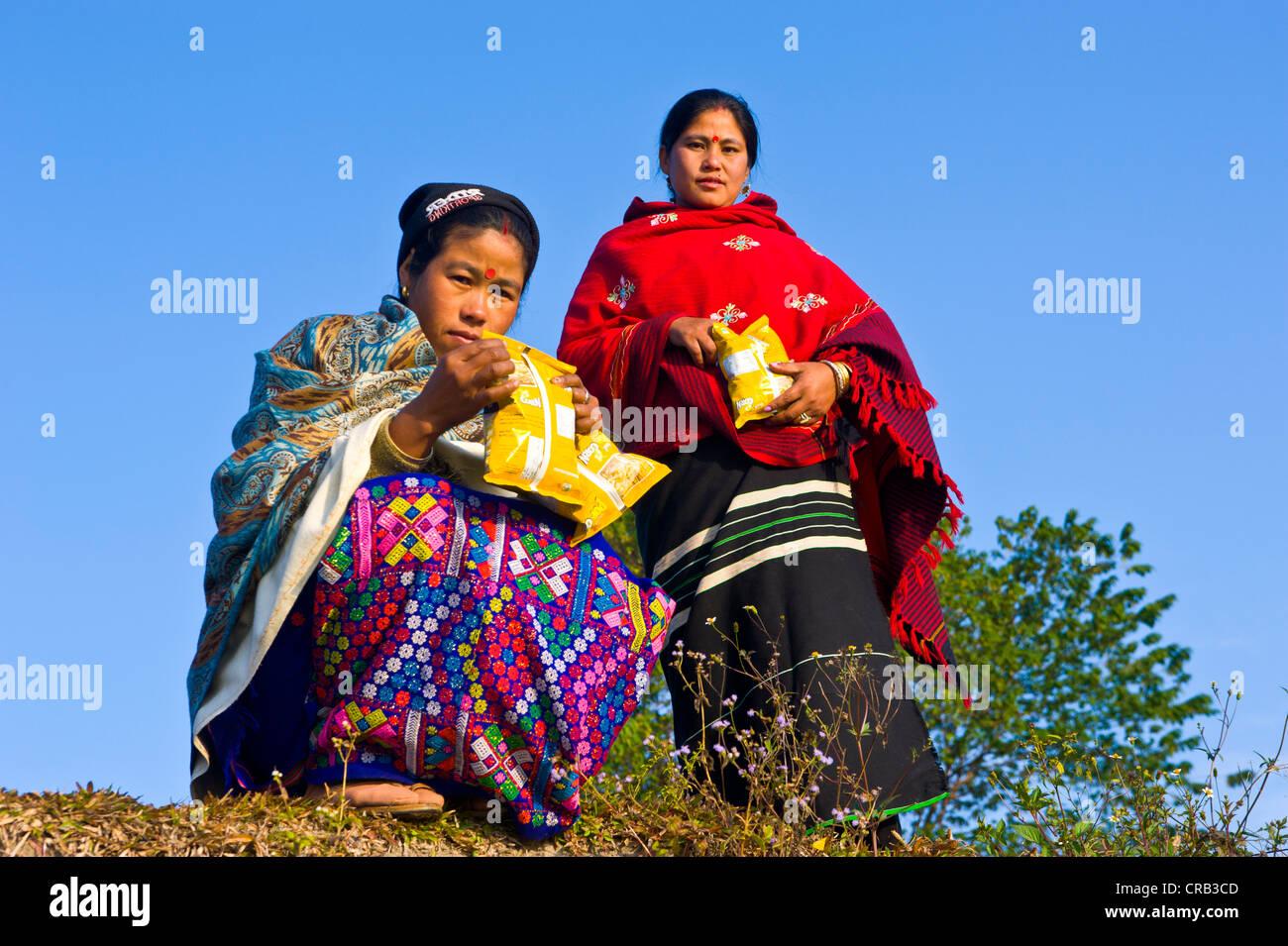 Nord Est le donne indiane sulla banca del fiume del fiume Brahmaputra, Assam, nord-est dell India, India, Asia Immagini Stock
