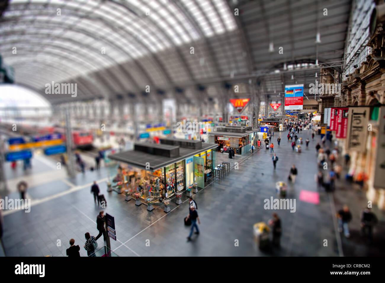 Francoforte stazione centrale, tilt-shift effetto per dare l' impressione di un modello in miniatura a causa Immagini Stock