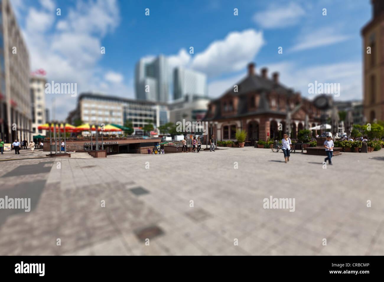Operncafe coffeehouse, vista in miniatura, tilt-shift effetto, ridotto la profondità di campo, Frankfurt am Immagini Stock