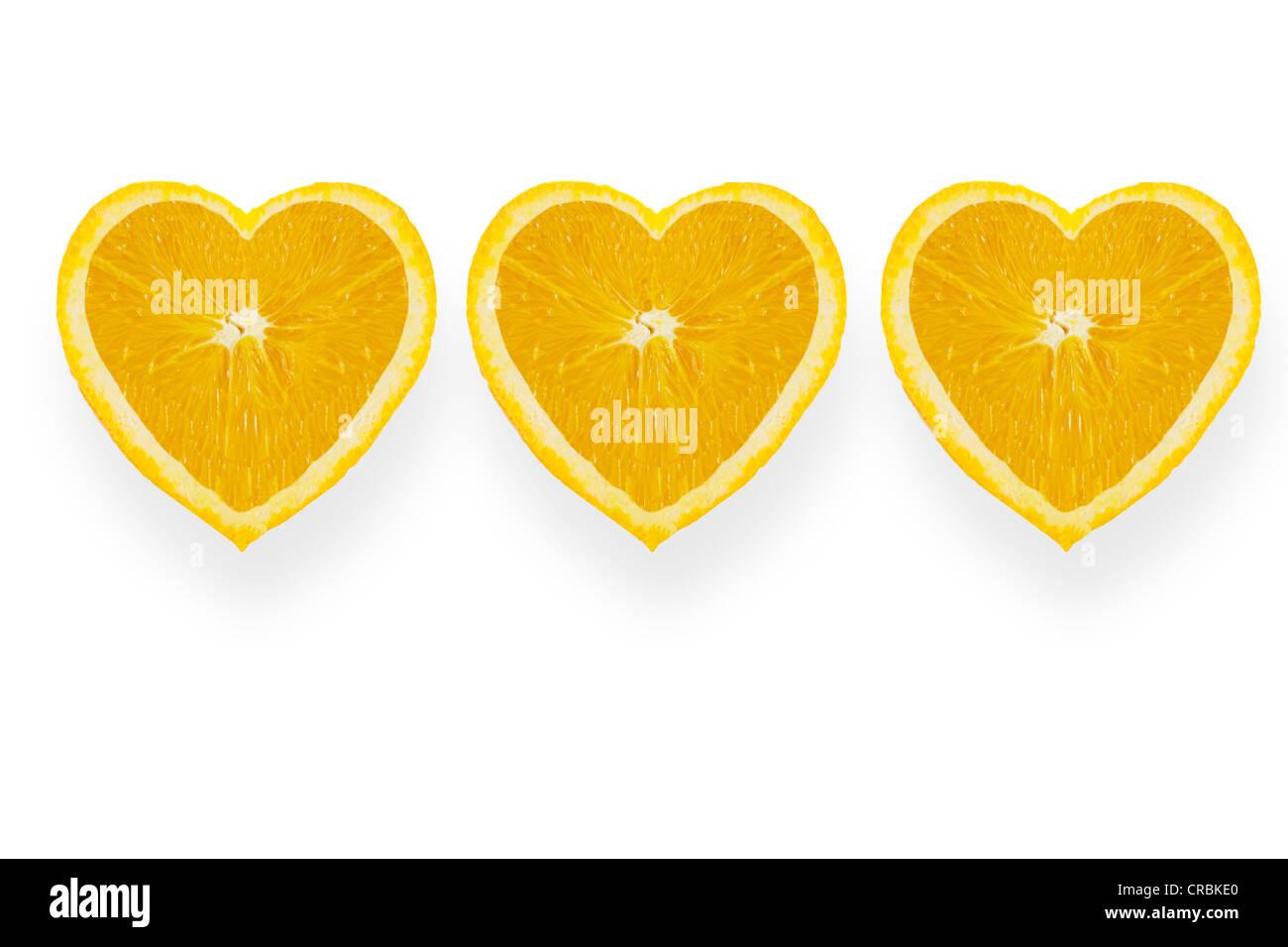 Arance, a forma di cuore Immagini Stock