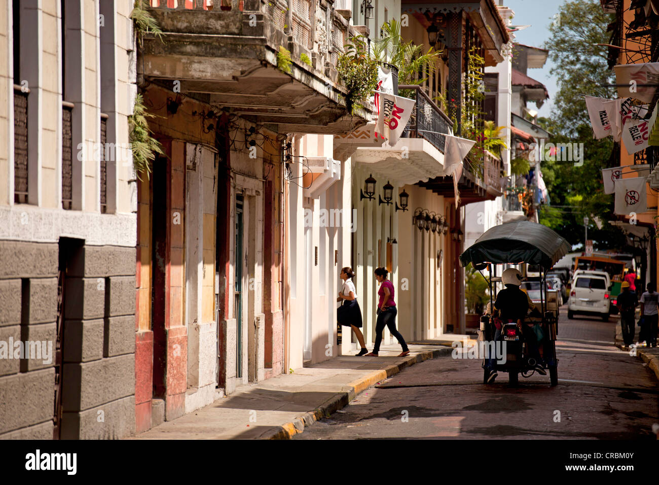 Street nella città vecchia, Casco Viejo, Panama City, Panama America Centrale Immagini Stock