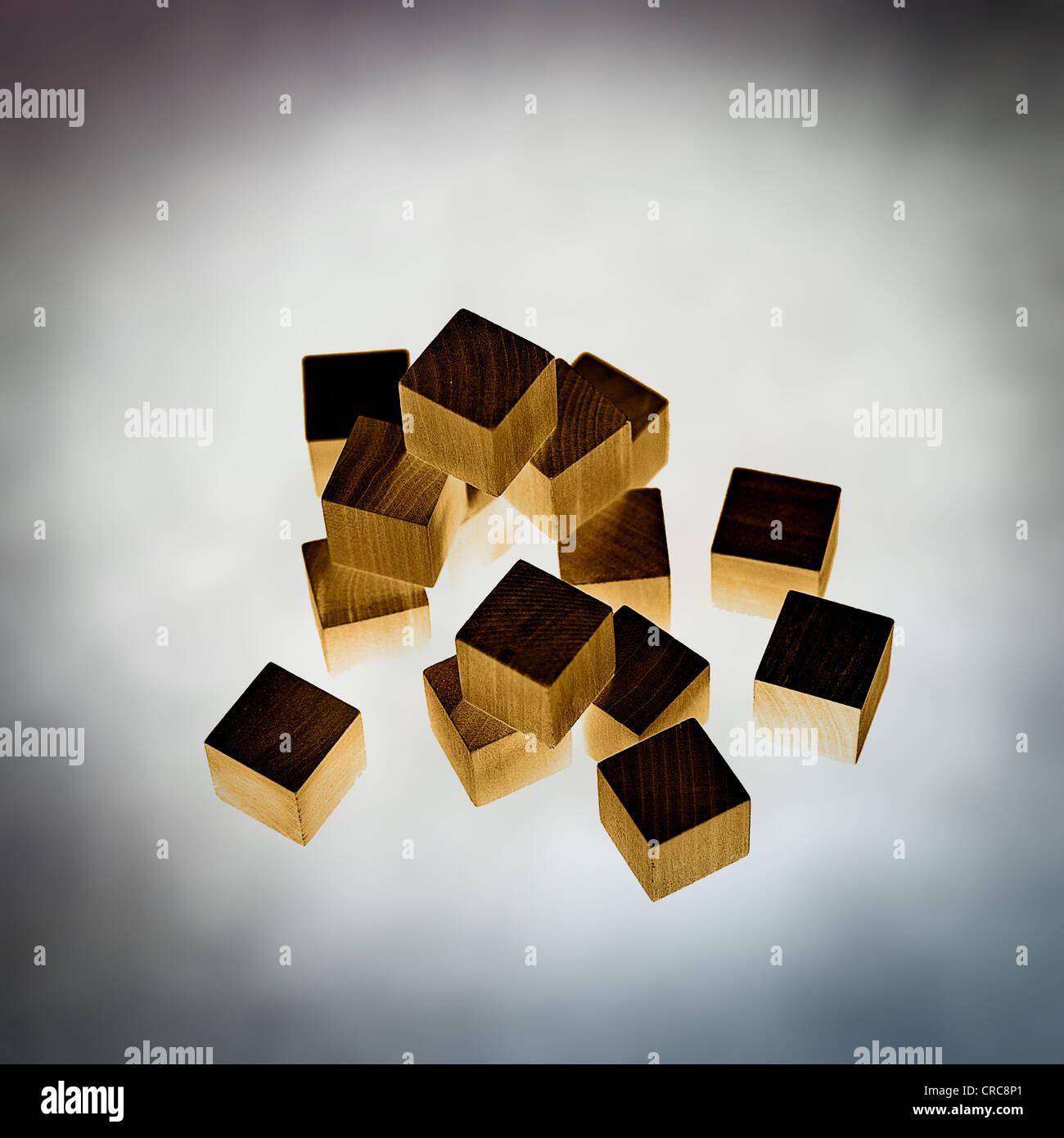 cubi di legno Foto Stock