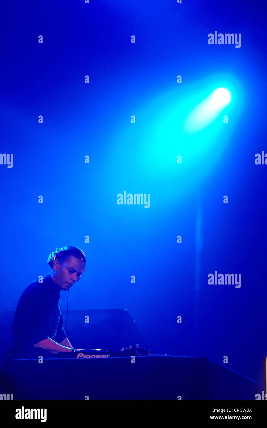 DJ Jeff Mills, techno festival Mayday 2011 nell'Westfalenhalle Dortmund venue, Dortmund, Renania settentrionale Immagini Stock