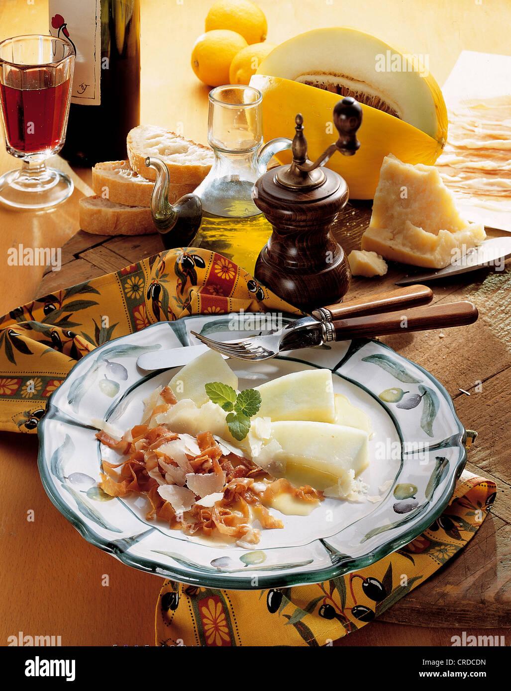 Prosciutto di Parma e melone, Italia, ricetta disponibile a pagamento Immagini Stock
