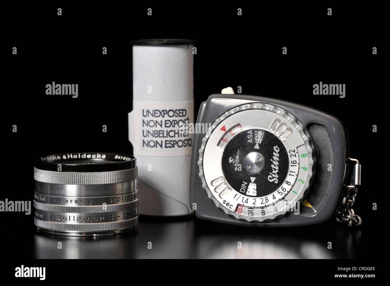rollei filtri  Vecchio Gossen Sixtino misuratore di luce, pellicole in rotoli ...