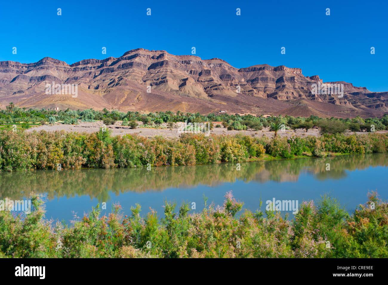 Fiume Draa, la gamma della montagna di Djebel Kissane table mountain sul retro, Valle di Draa, sud del Marocco, Immagini Stock