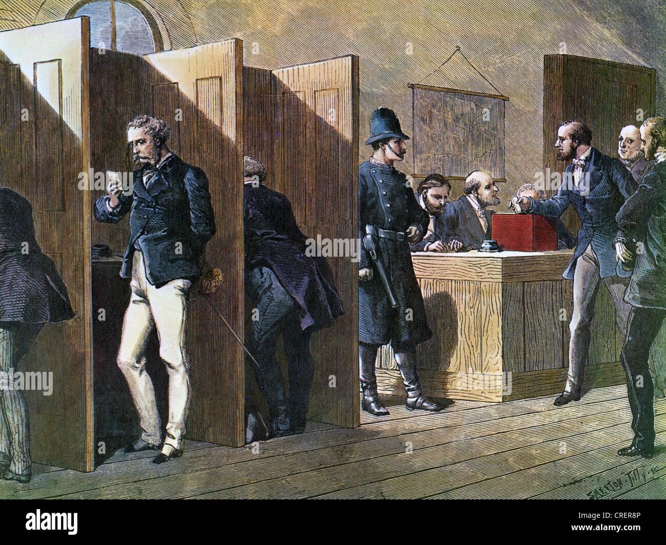 Vittoriano stazione di polling come mostrato in una rivista francese nel 1880 Immagini Stock