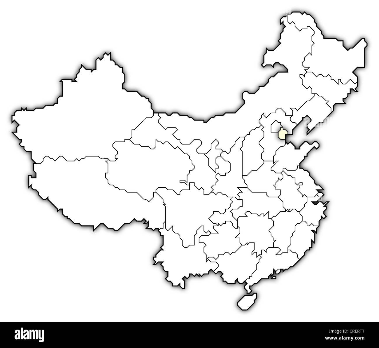 Cartina Cina Con Province.Mappa Politica Della Cina Con Le Diverse Province Dove Tianjin E Evidenziata Foto Stock Alamy