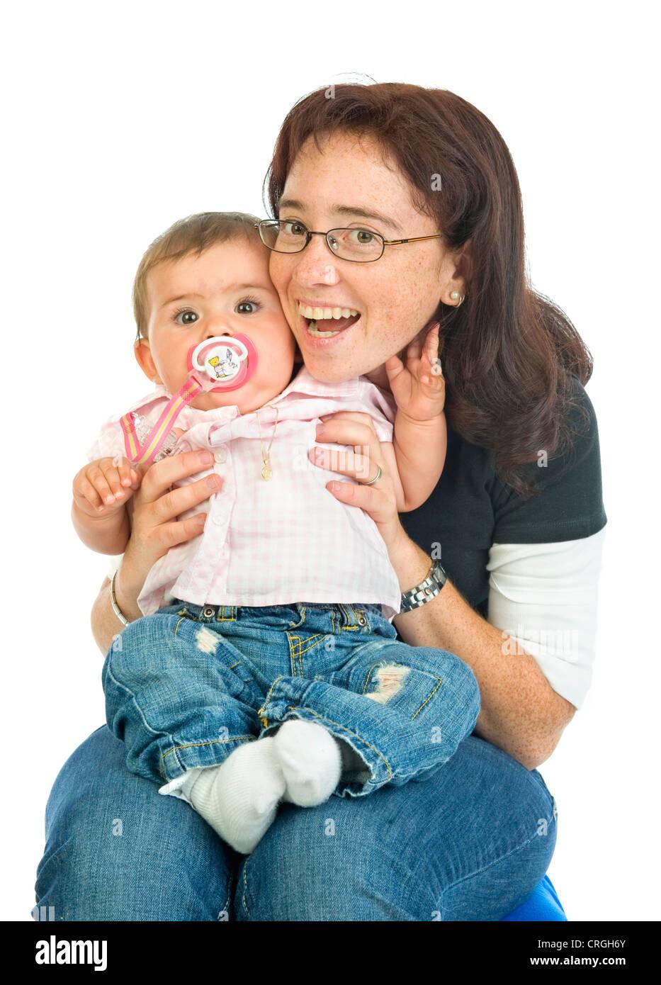 Madre con bambino, 8 mese Foto Stock