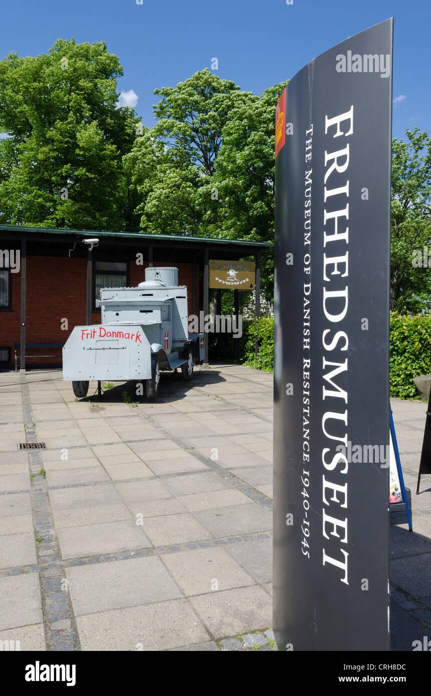 Il Museo della Resistenza danese, il Frihedsmuseet, a Copenhagen, in Danimarca con serbatoio fatti in casa Immagini Stock