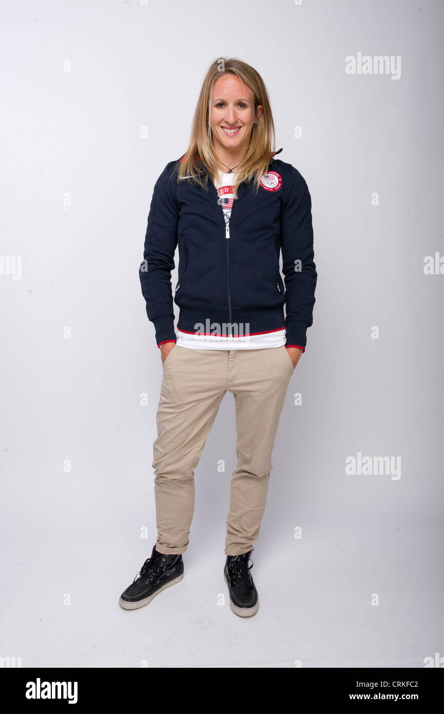 Sailer Anna Tunnicliffe presso il Team USA Media Summit a Dallas, TX in anticipo delle Olimpiadi di Londra 2012. Immagini Stock
