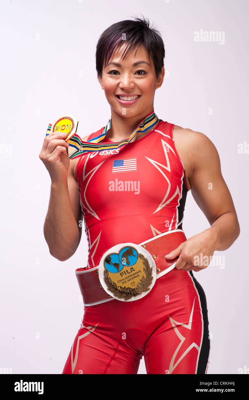 Il lottatore Clarissa Chun presso il Team USA Media Summit a Dallas, TX in anticipo delle Olimpiadi di Londra 2012. Immagini Stock