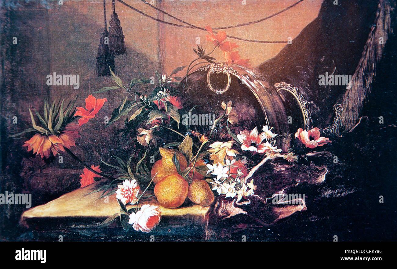 Jean-Baptiste Monnoyer - Still Life di fiori e frutta Immagini Stock