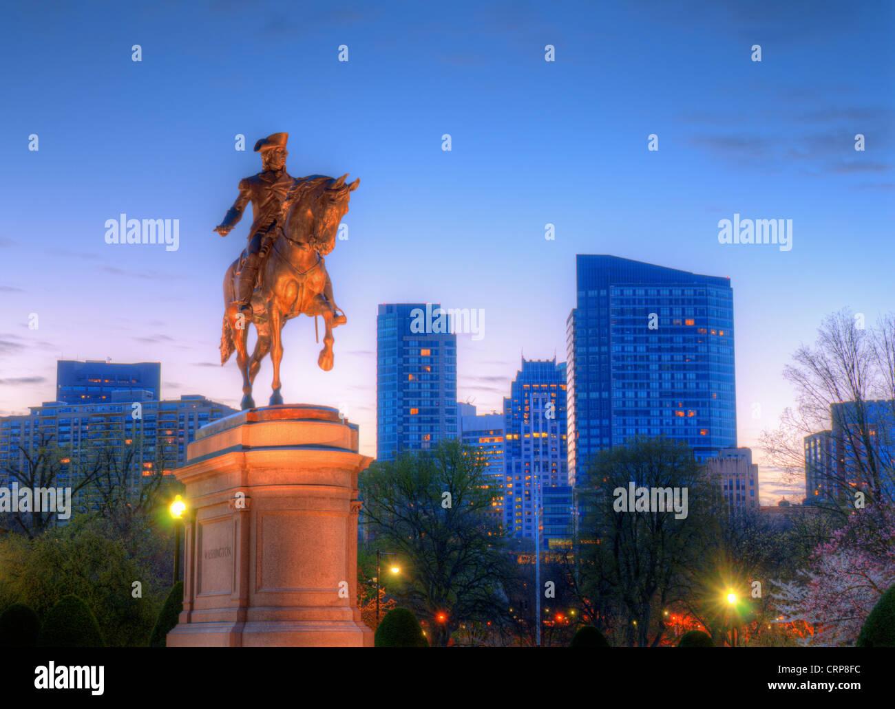 George Washington Statua equestre al giardino pubblico di Boston, Massachusetts. Immagini Stock