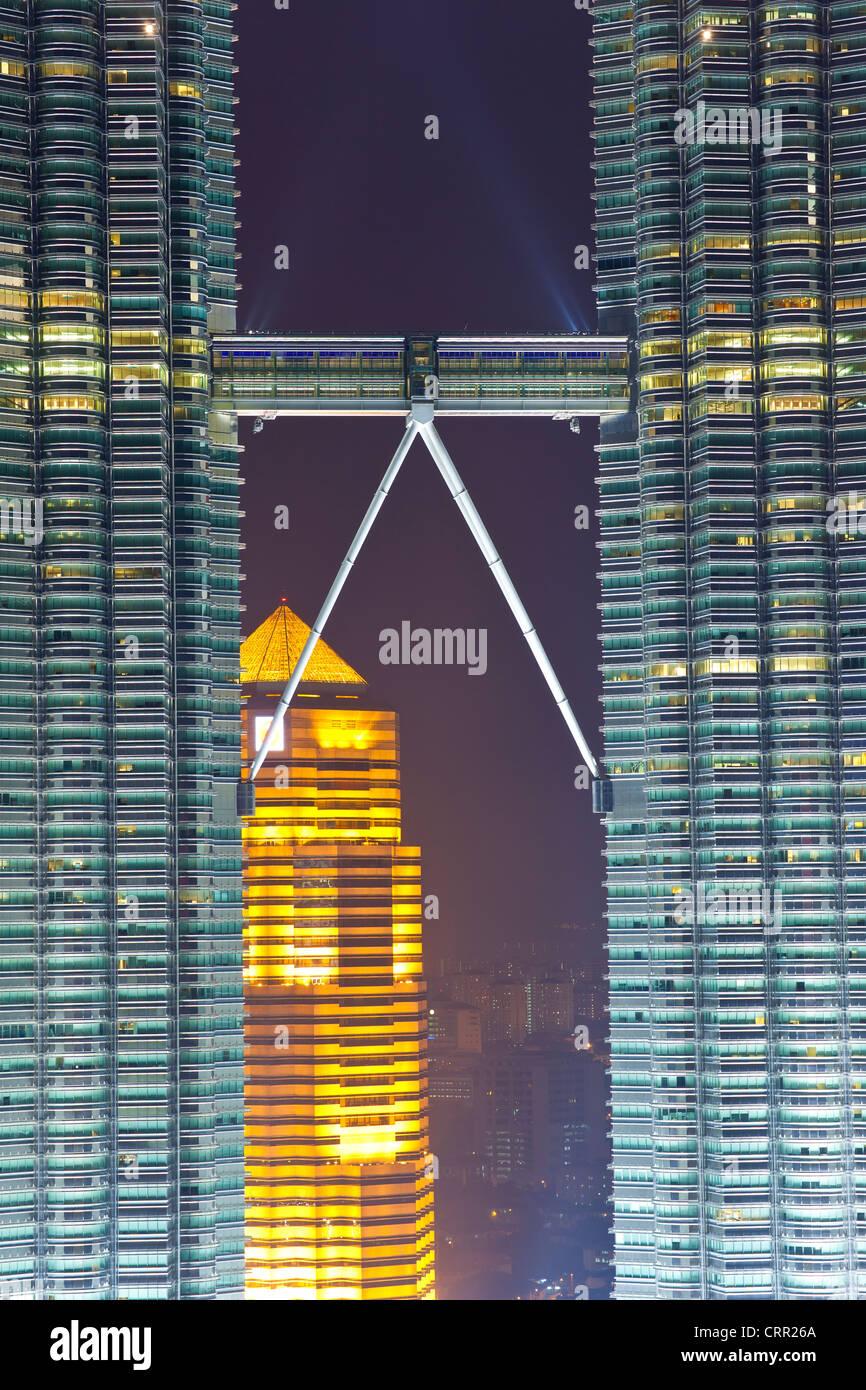 Malaysia, Kuala Lumpur, vista sul centro cittadino di Kuala Lumpur (KLCC) & Torri Petronas Immagini Stock