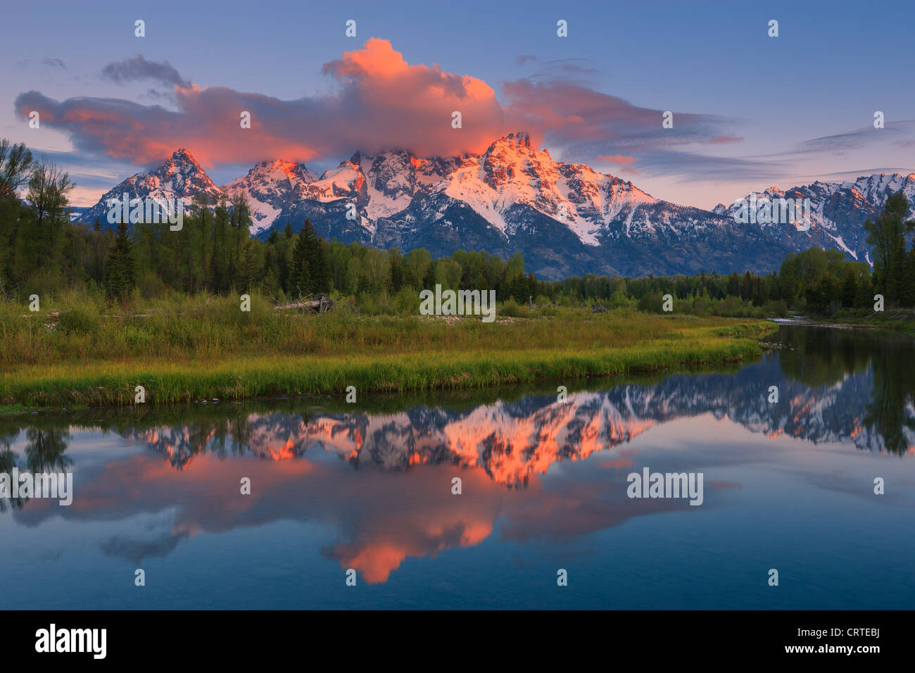 Sunrise a Schwabacher in atterraggio a Grand Teton National Park in Wyoming, STATI UNITI D'AMERICA Immagini Stock