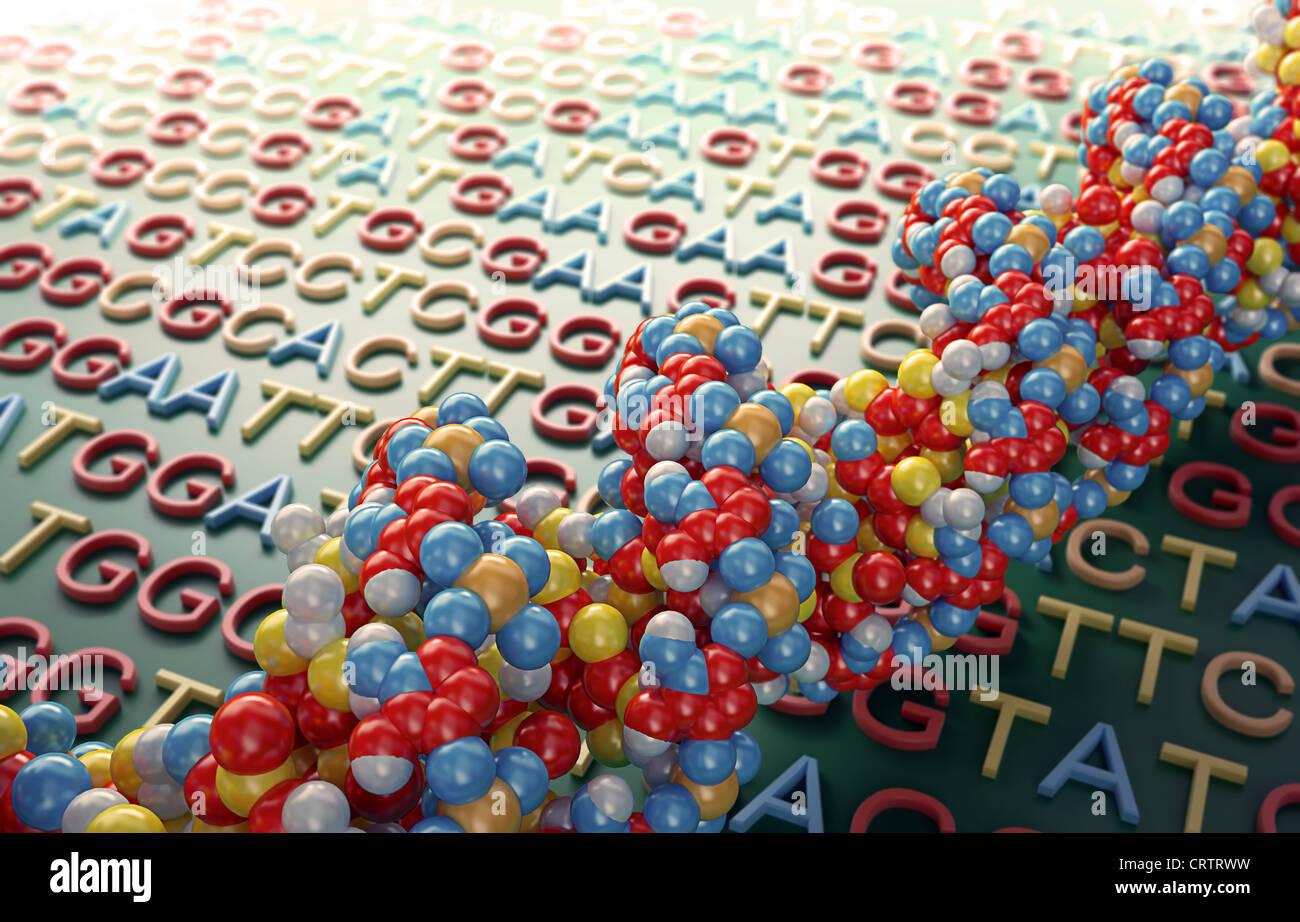 Il sequenziamento di DNA concetto illustrazione Foto Stock