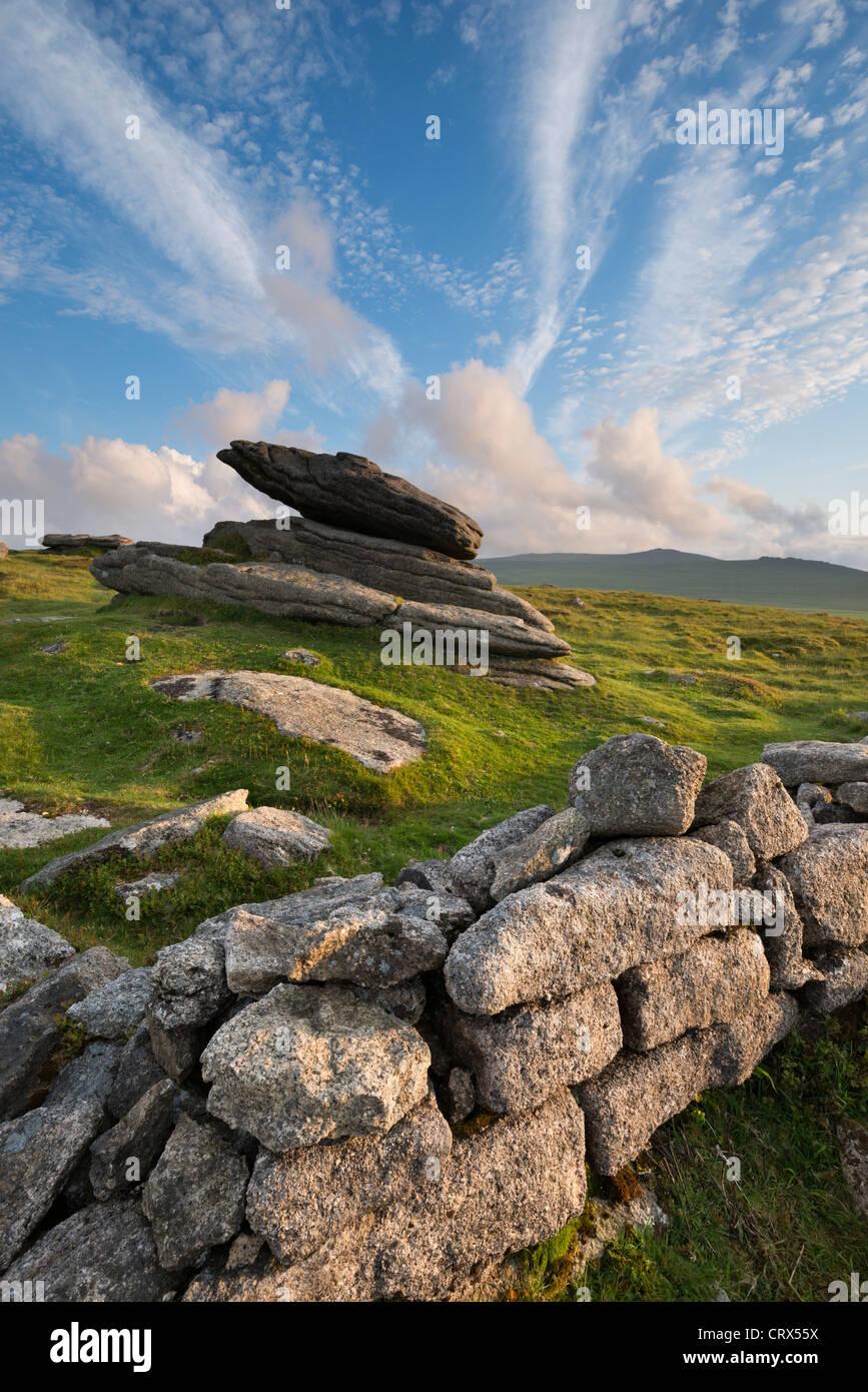 Estate a irlandese la parete sulla cresta Belstone, Dartmoor Devon, Inghilterra. Per il periodo estivo (Giugno 2012). Immagini Stock
