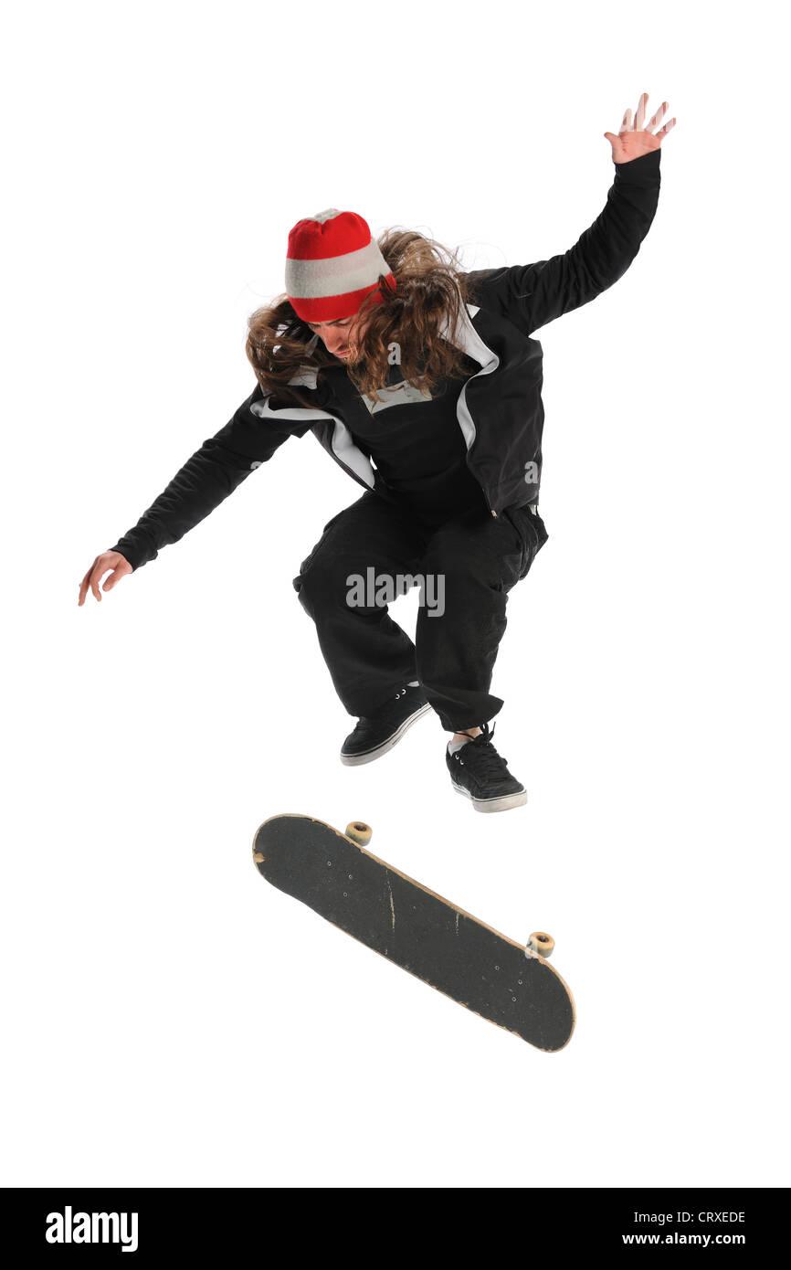 Guidatore di skateboard jumping isolate su sfondo bianco Immagini Stock