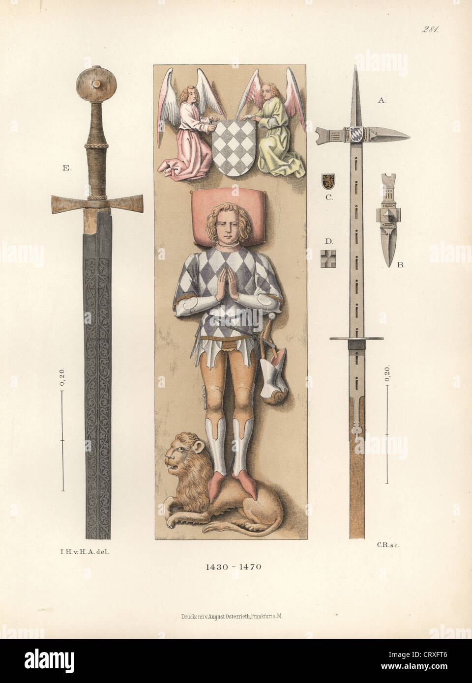Cavaliere della metà del XV secolo in battaglia le armature con le armi. Immagini Stock