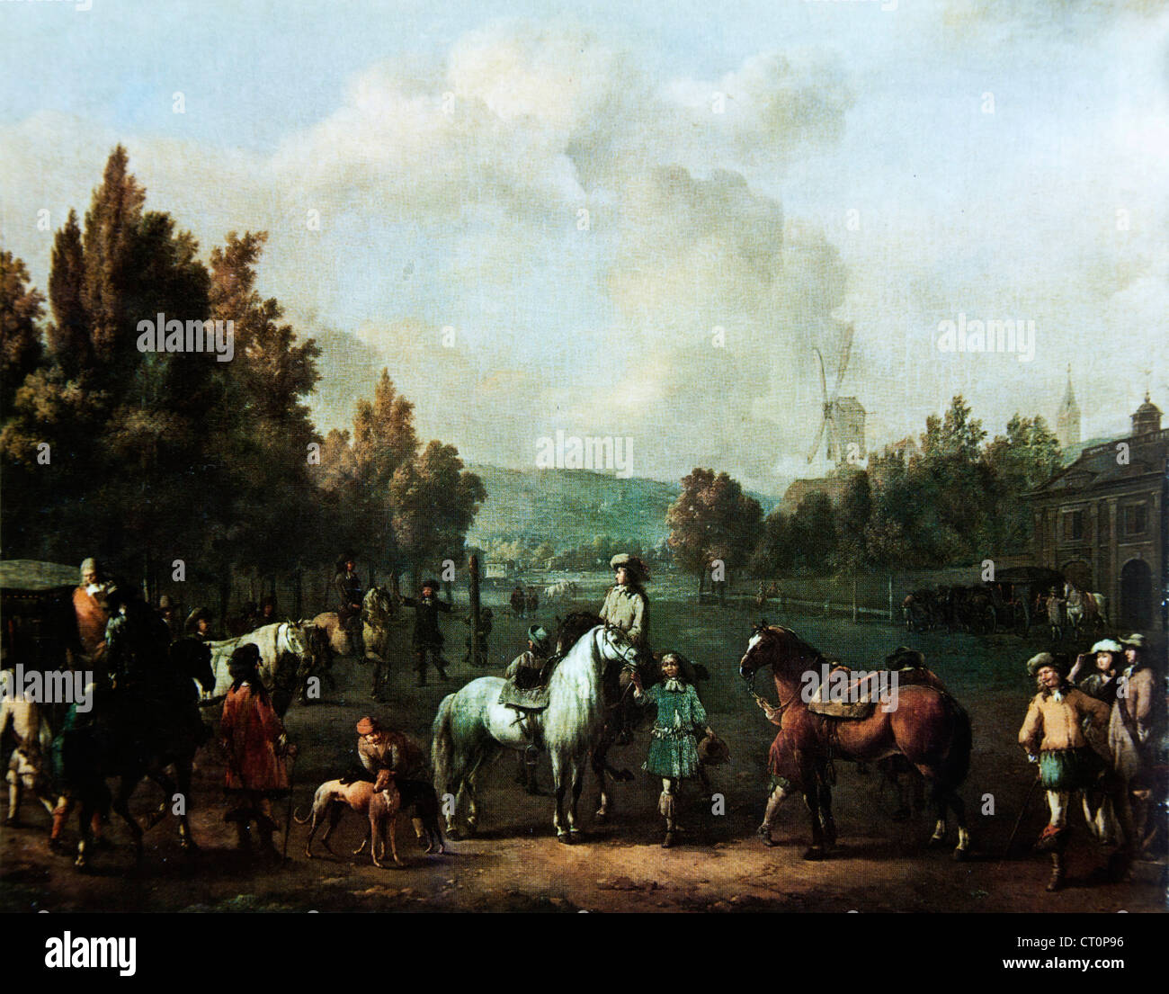 La scuola di equitazione - Johannes Lingelbach Immagini Stock