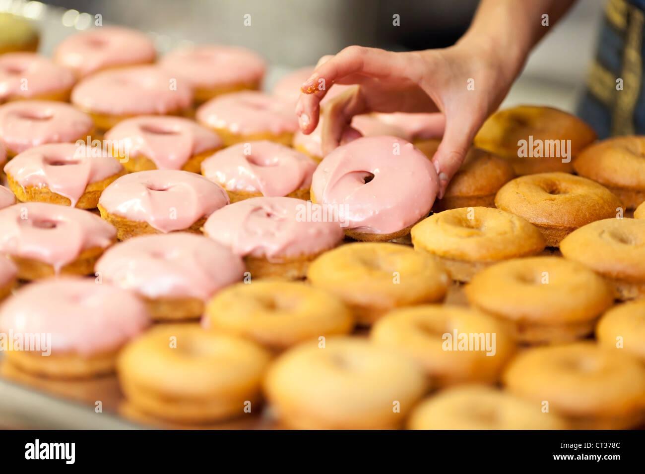 Una donna che aggiunge un velo di smalto rosa durante la cottura le ciambelle a Tandmen ciambelle, una piccola boutique Immagini Stock