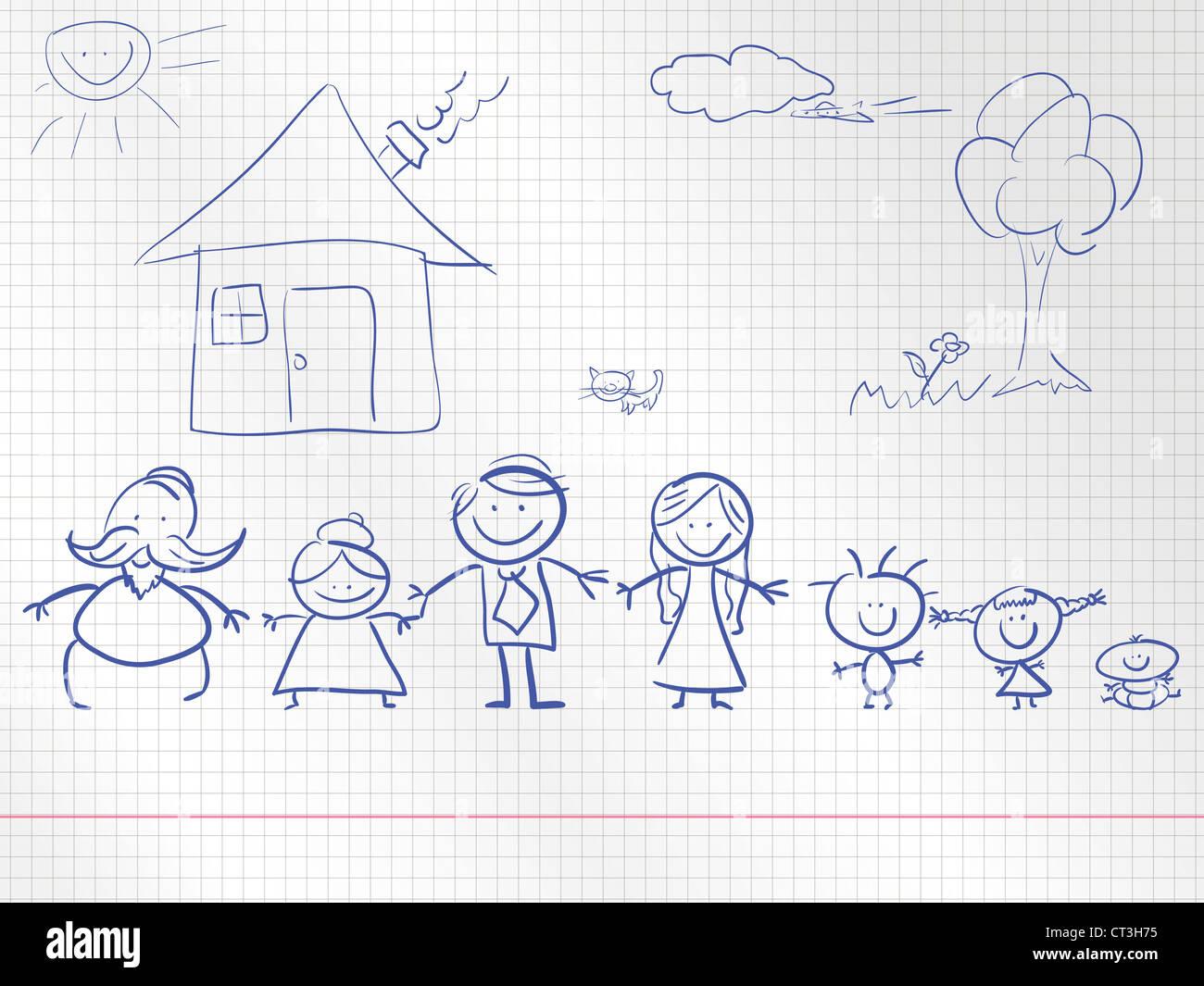 Una famiglia felice di un bambino disegno. illustrazione. Immagini Stock