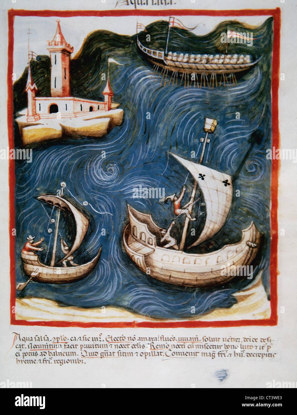 Tacuinum Sanitatis. Il XIV secolo. Manuale medievale di salute. Barche in mare. Folio 88r. Immagini Stock