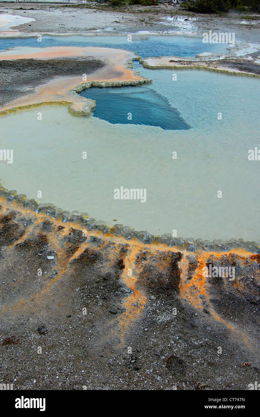 Doppietto piscina, Upper Geyser Basin, il Parco Nazionale di Yellowstone Foto Stock