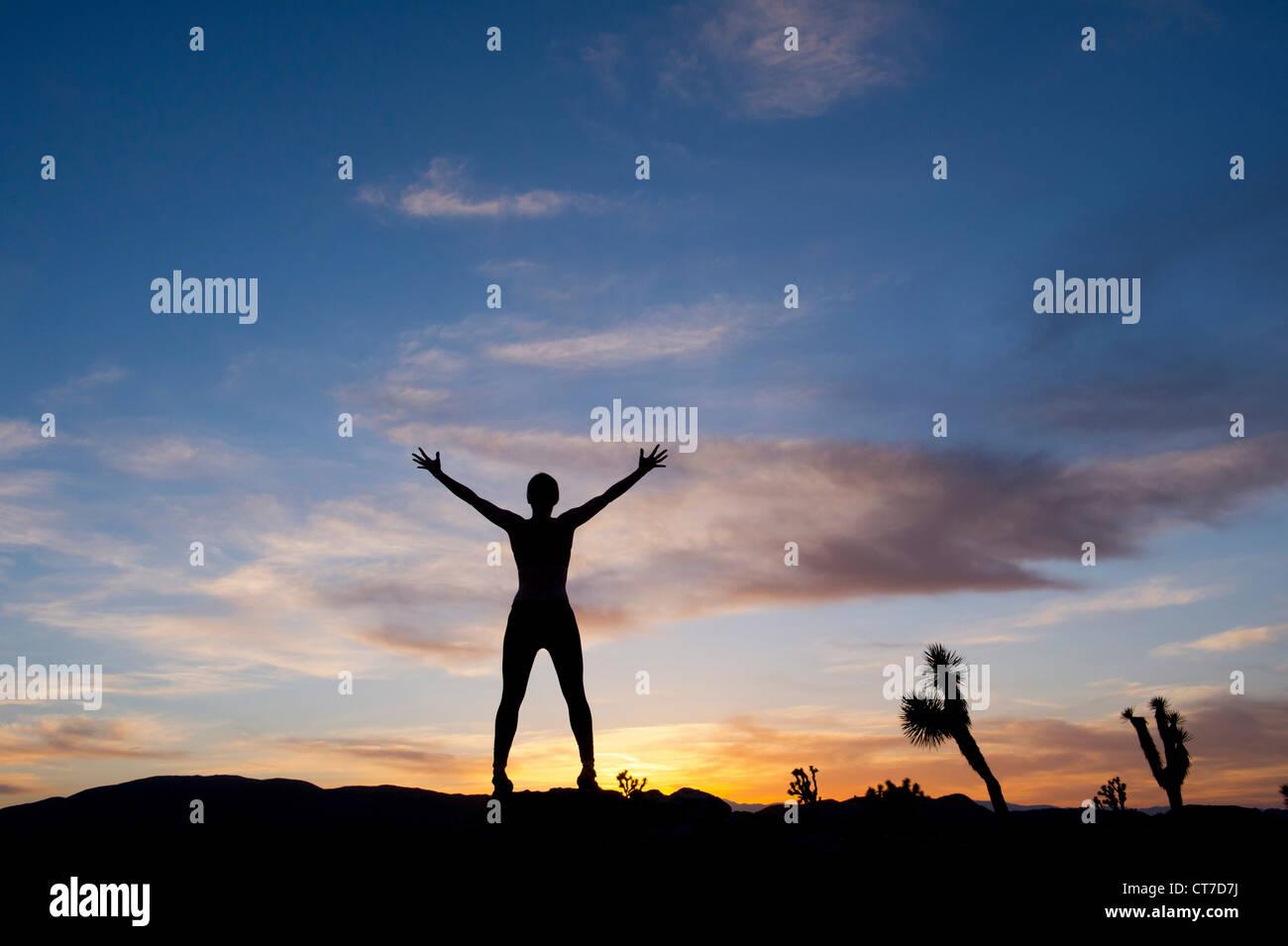 Giovane donna in piedi nel deserto con i bracci aperti, silhouette Foto Stock