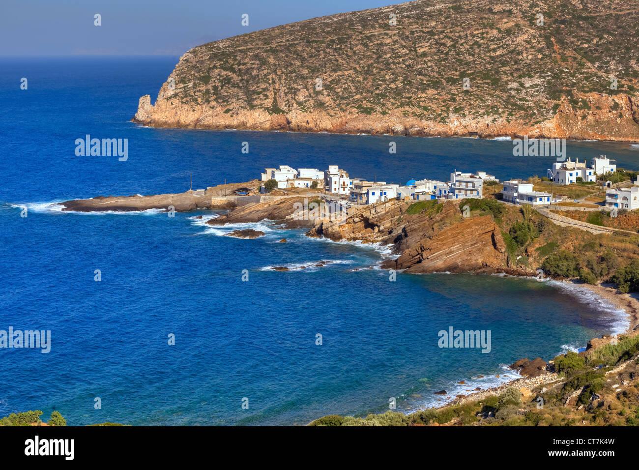 Villaggio di Pescatori, Grecia APOLLONAS, NAXOS, Grecia Immagini Stock