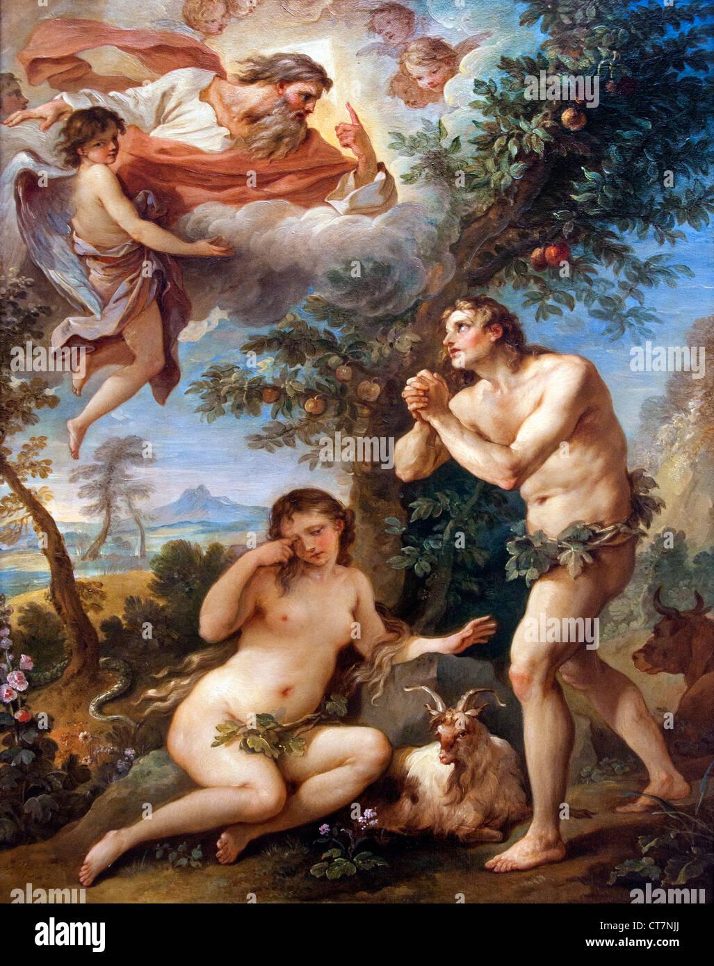 La Cacciata dal Paradiso 1740 Charles Joseph Natoire il francese in Francia Immagini Stock