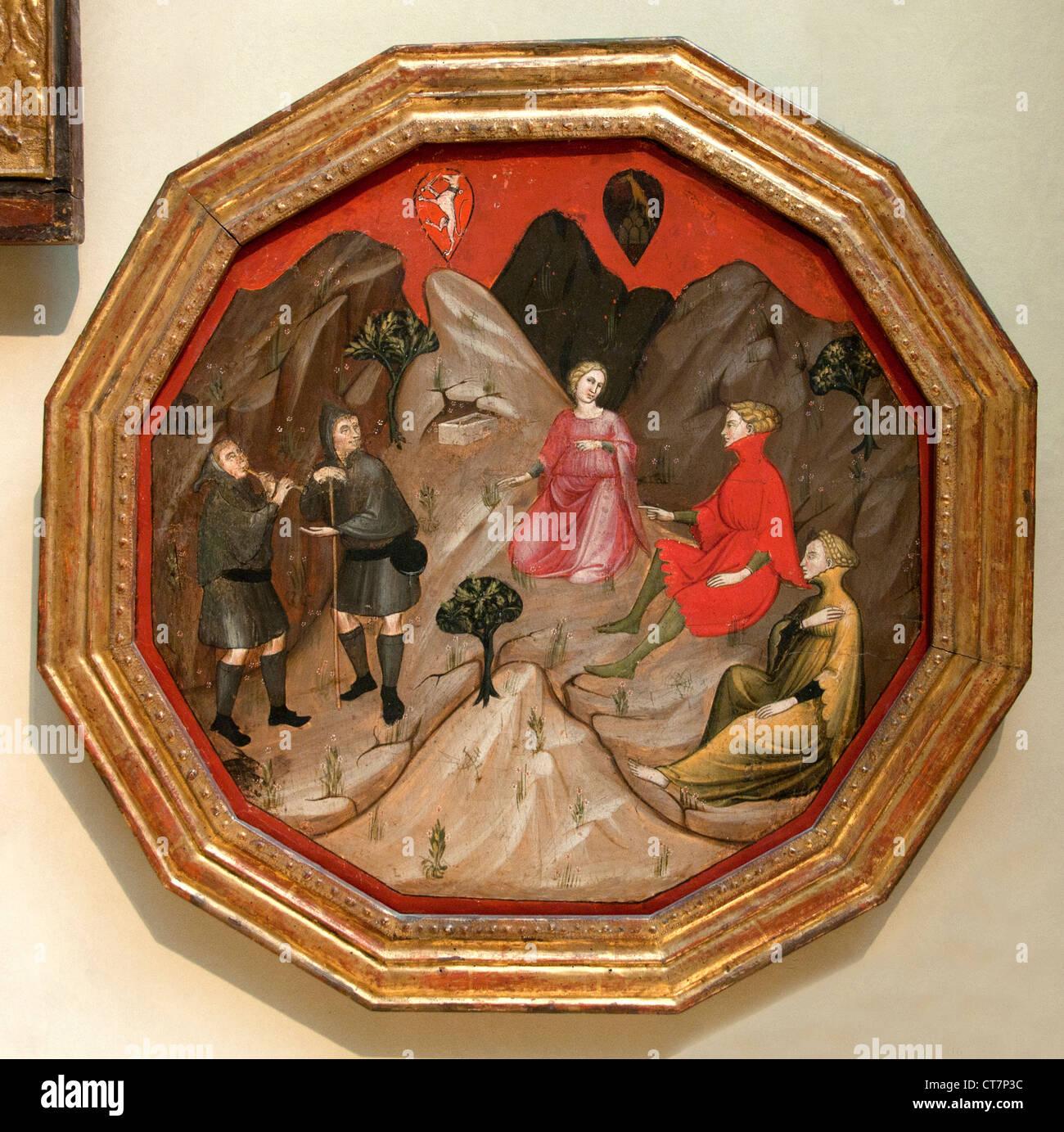 Ameto's 1410 Scoperta delle Ninfe di Master 1416 fiorentino italiano Italia contesa fra i Pastori Alcesto e Immagini Stock