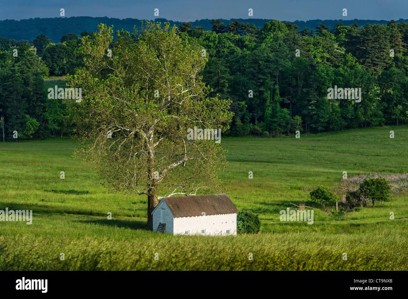 Molla rurale casa nel lussureggiante paesaggio pastorale, Chester County, Pennsylvania, STATI UNITI D'AMERICA Immagini Stock