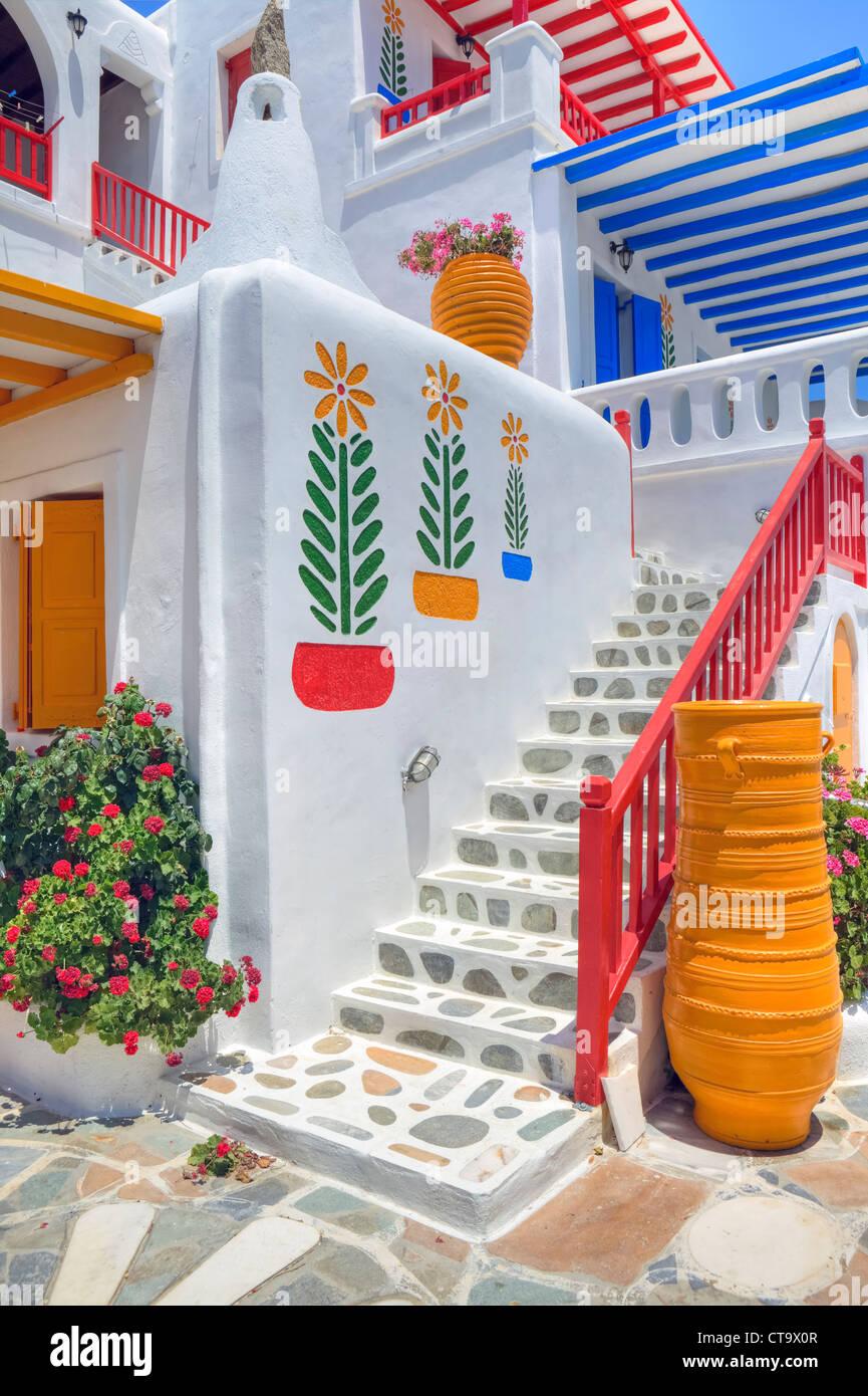 Colorata architettura di Mykonos, Grecia Immagini Stock