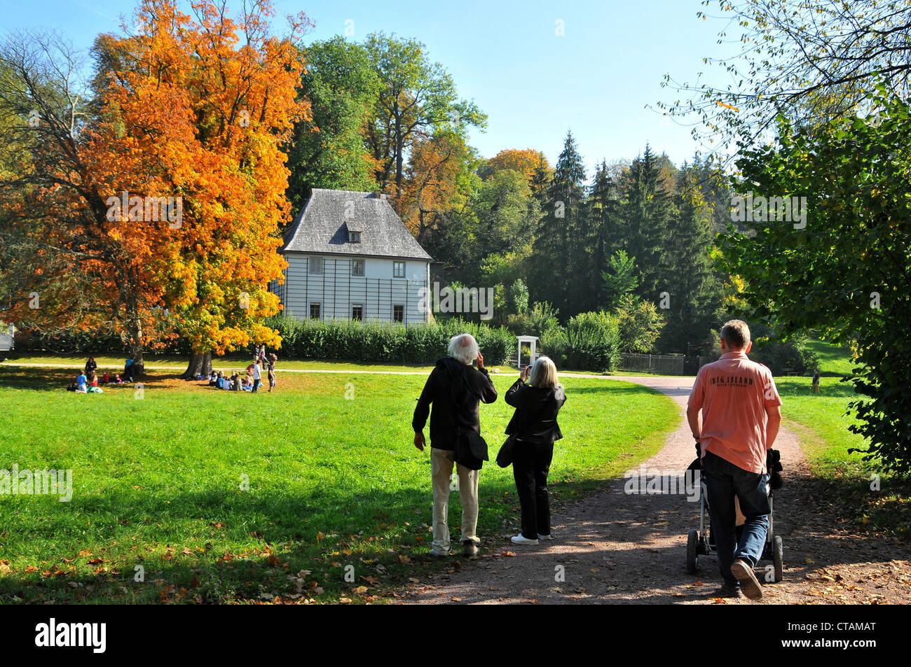 Garden Casa di Goethe in Ilm Park, Weimar, Turingia, Germania Foto Stock