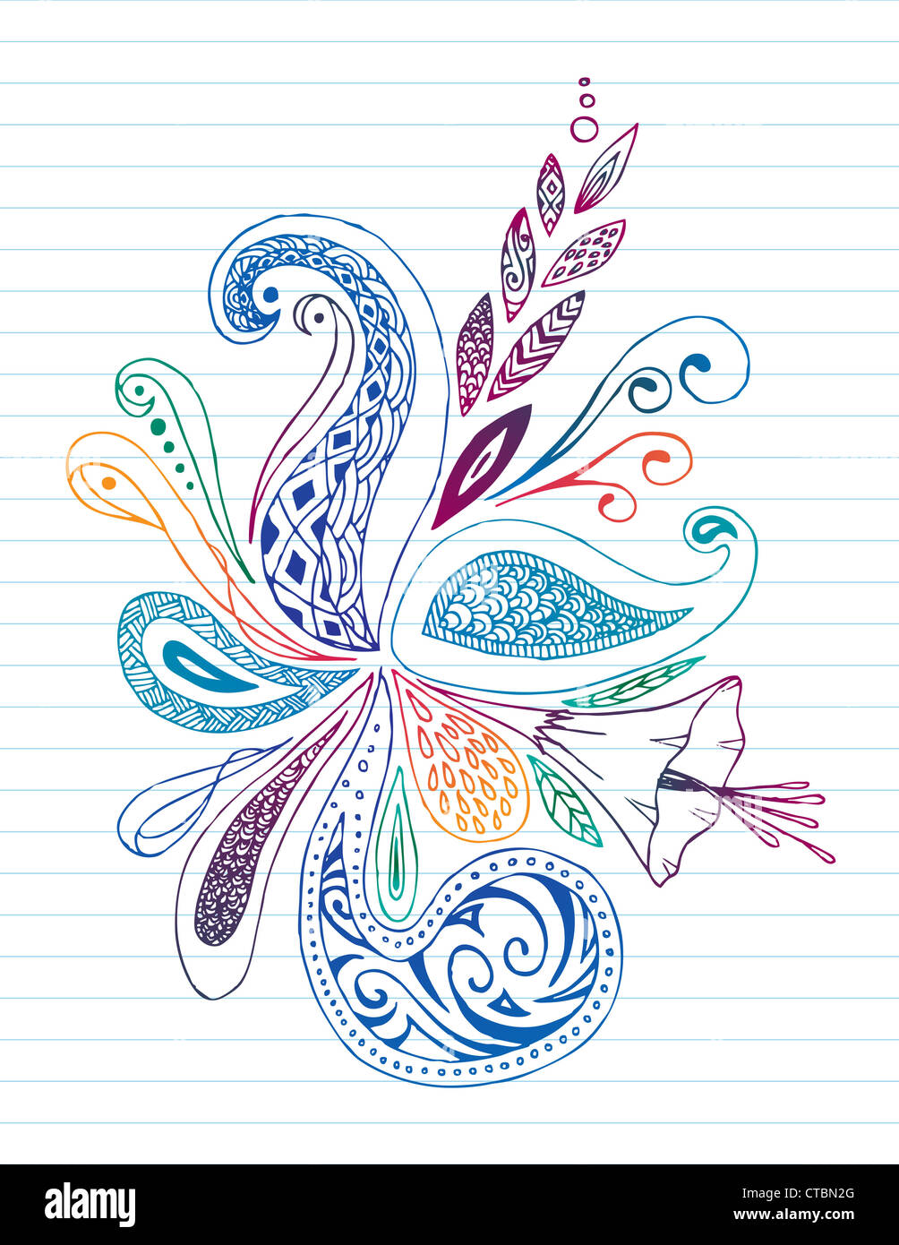 Floral doodle su carta a righe. Immagini Stock