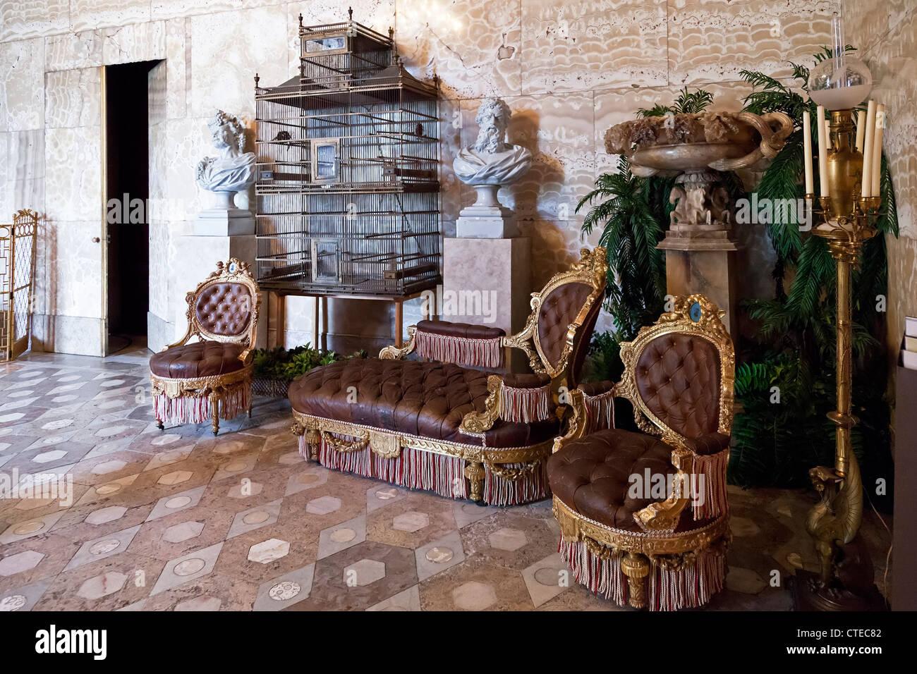 Sala di marmo o Winter Garden Room (Sala de Mármore ou do Jardim de Inverno) nell'Ajuda Palazzo Nazionale, Immagini Stock