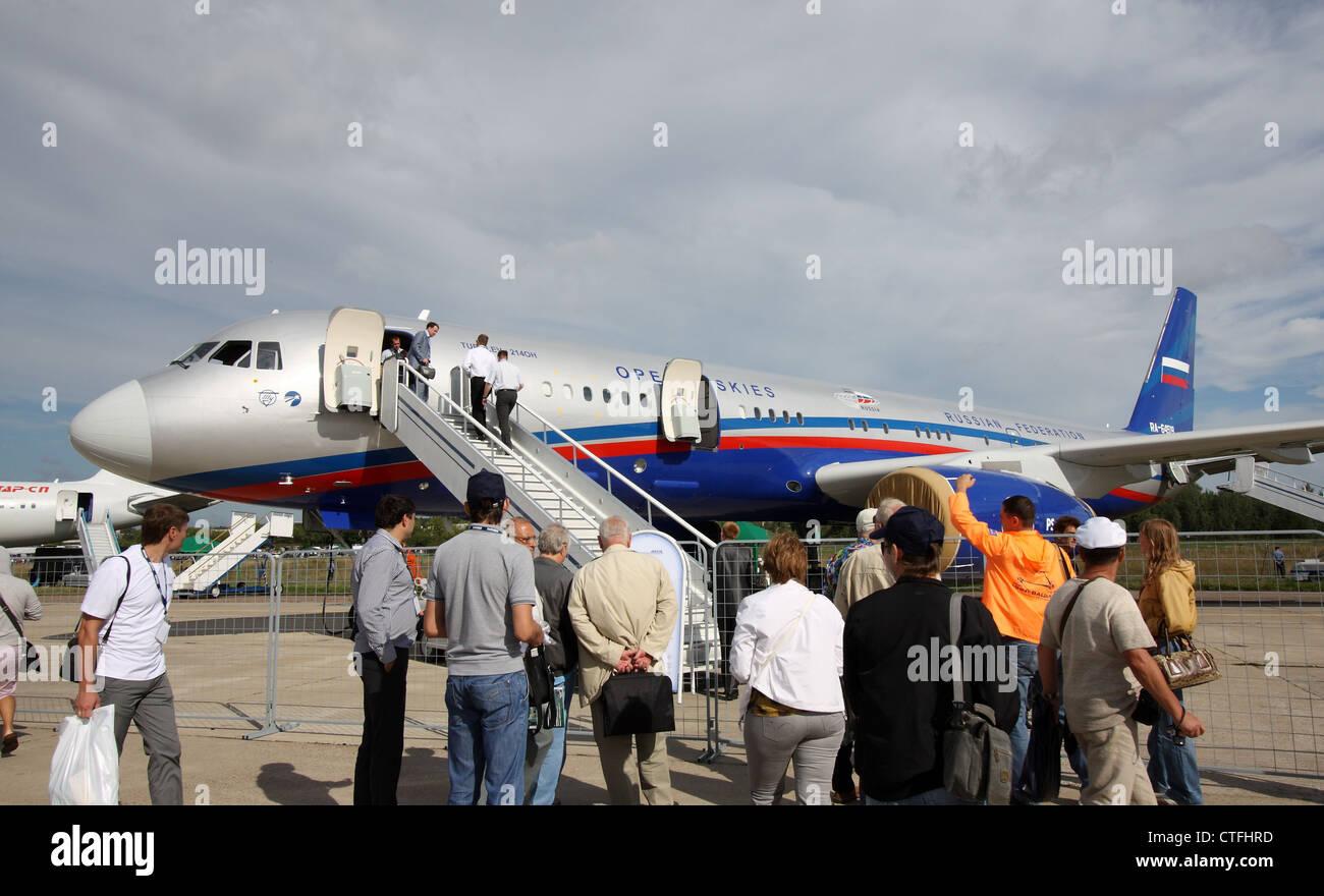 Tupolev Tu-214A (Open Skies - Trattato sui cieli aperti) (internazionale salone aerospaziale MAKS-2011) Immagini Stock