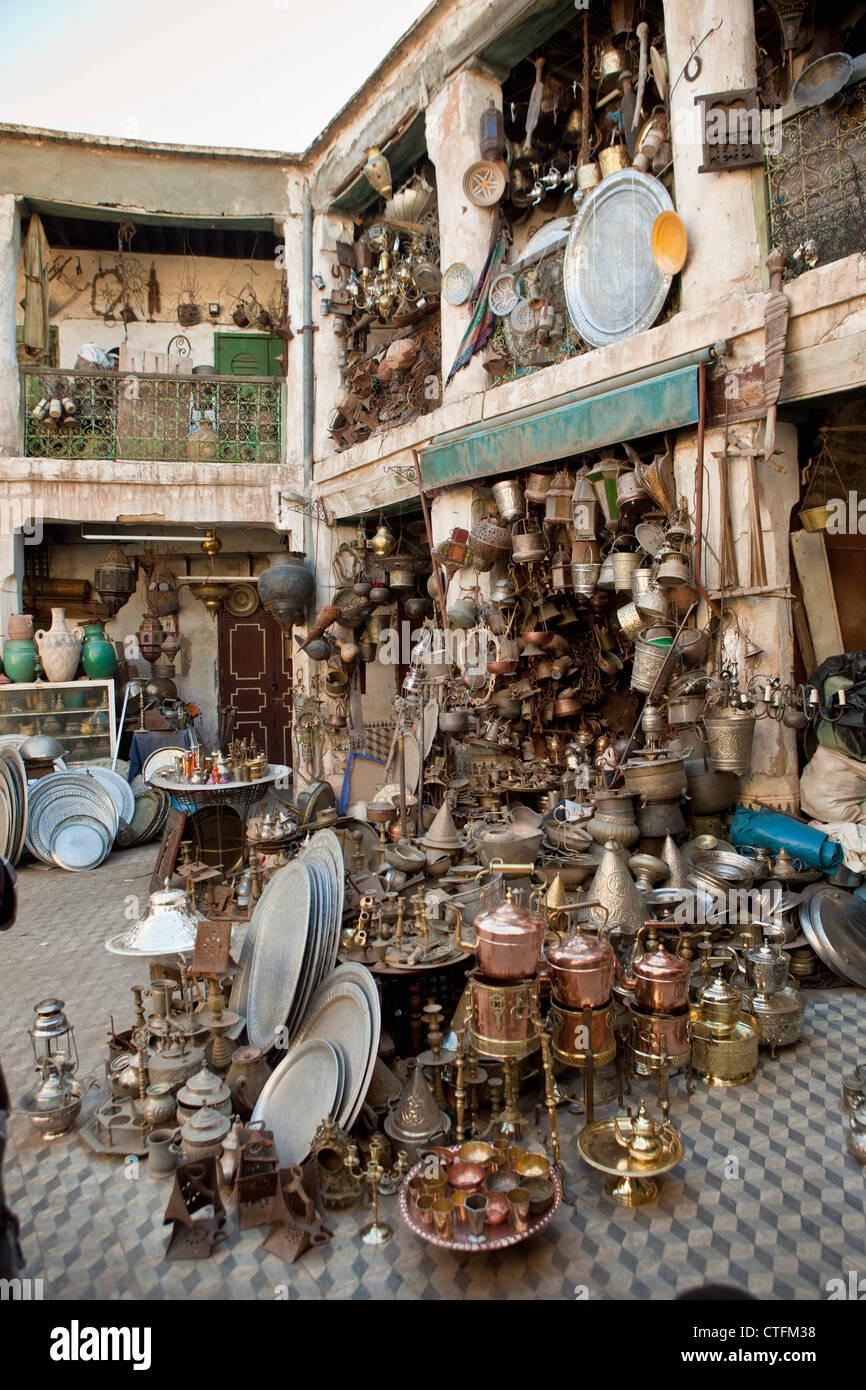 Il Marocco, la Medina di Marrakech, mercato, souq o souk Immagini Stock
