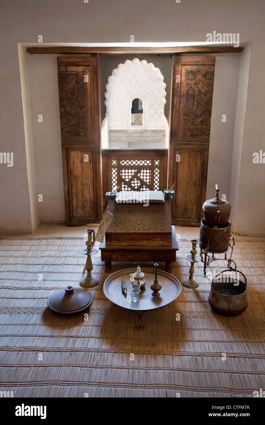 Il Marocco, la Medina di Marrakech, Ali ben Youssef Medersa. Camera di studente. Immagini Stock